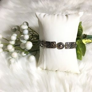 Geometric Circle & Rectangle Artisan Bracelet